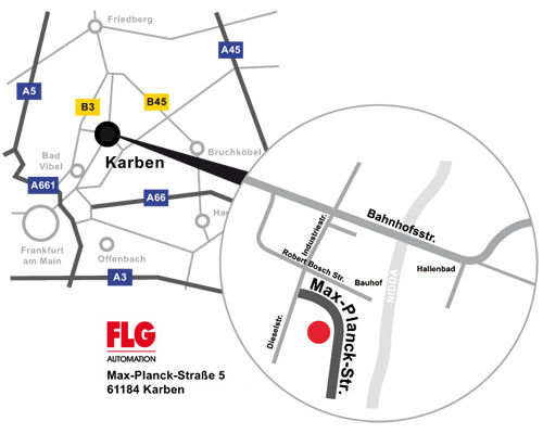 Anfahrt FLG Automation AG Karben